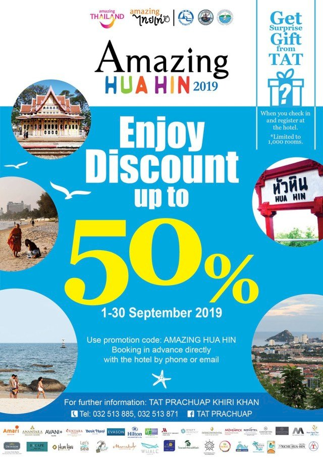 TAT's Amazing Hua Hin 2019 promotion offers up to 50% off Room Rates
