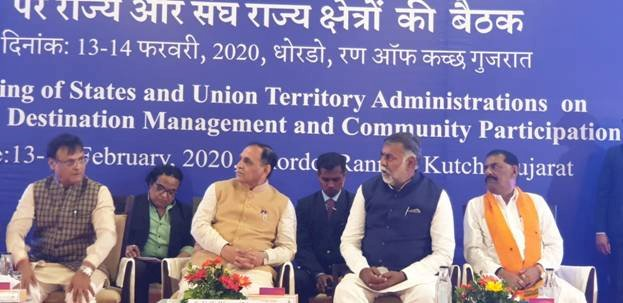 Union Culture and Tourism Minister Shri Prahlad Singh Patel and Chief Minister of Gujarat Shri Vijay Rupani inaugurate the two day meet on Destination Management and Community Participation in Gujarat
